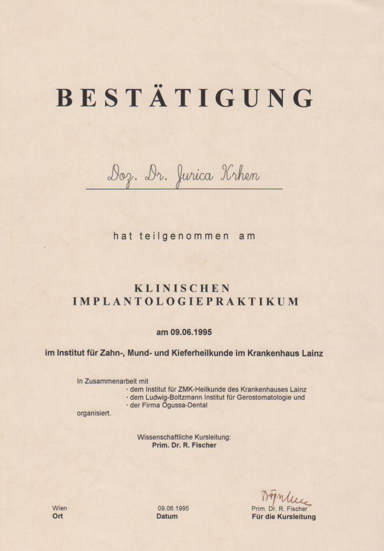 Klinischen Implantologie Praktikum 1995