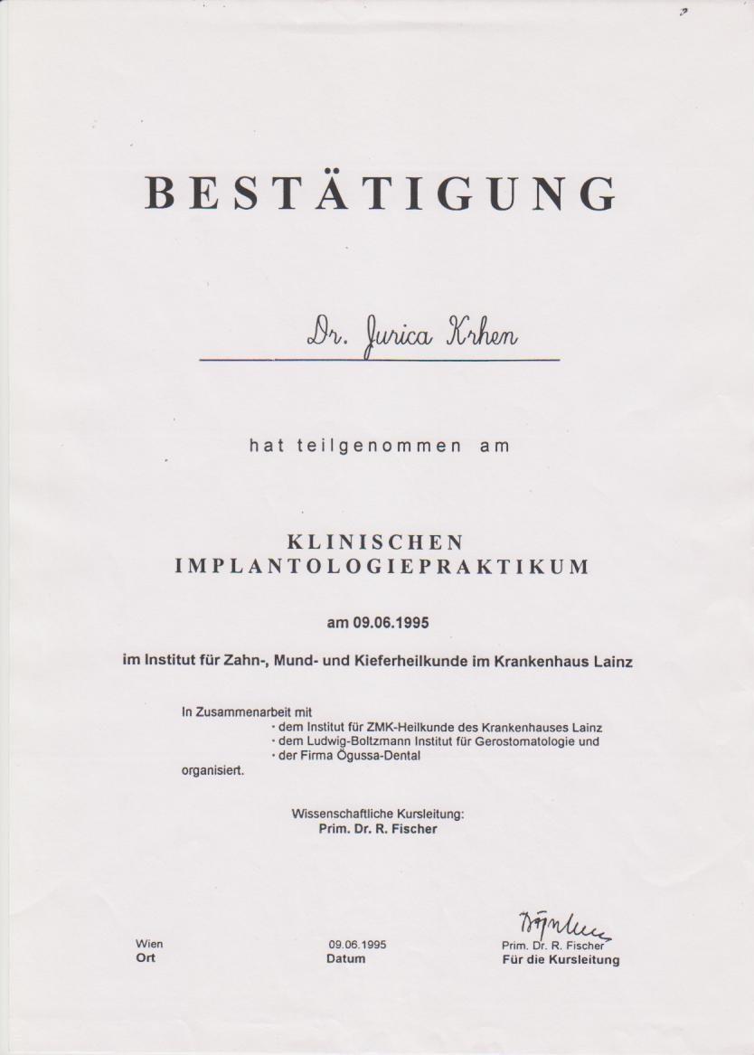 Klinischen Implantologie Praktikum 1995d