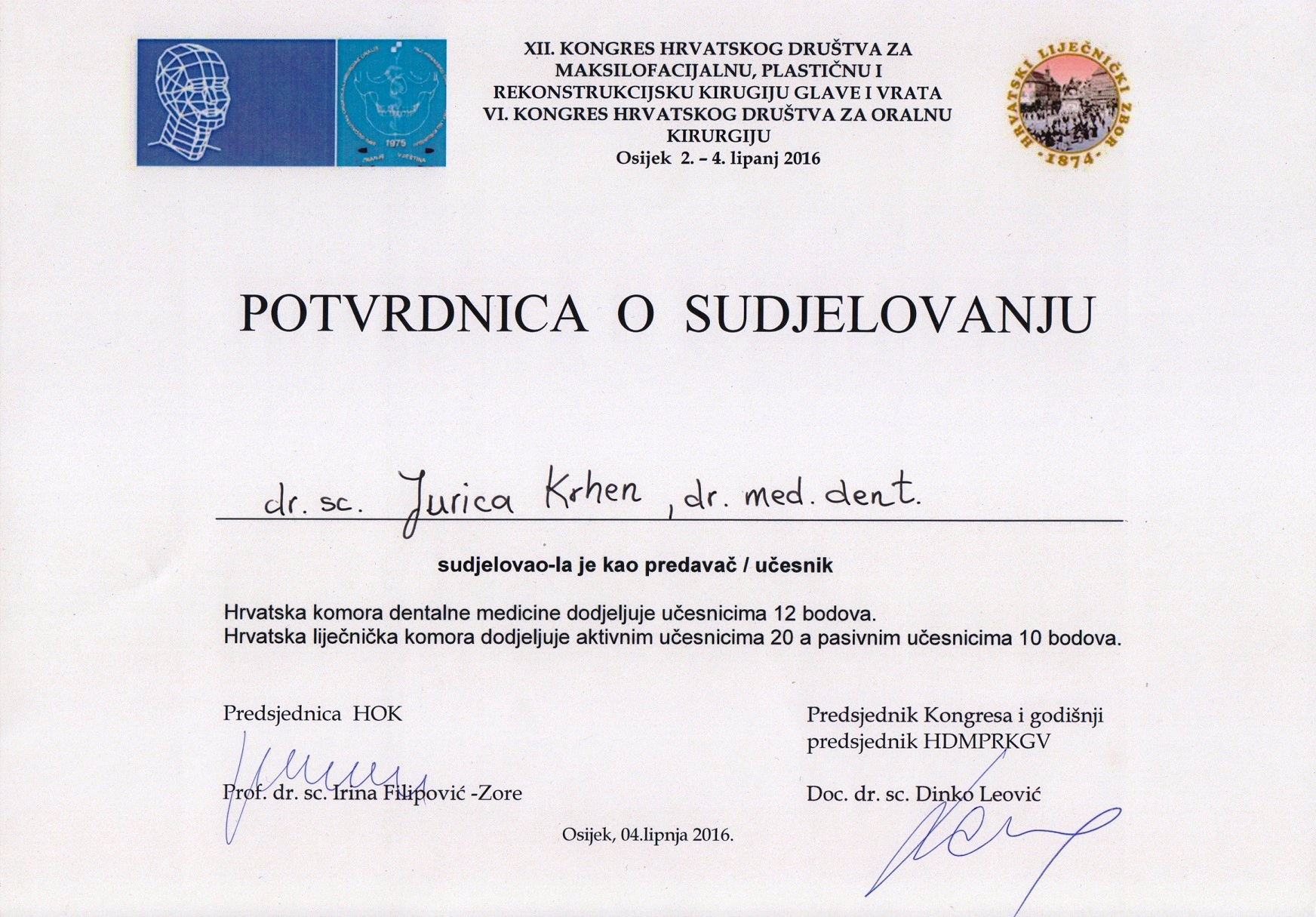 Krhen - Kongres Hrvatskog društva za oralnu krirgiju 2016