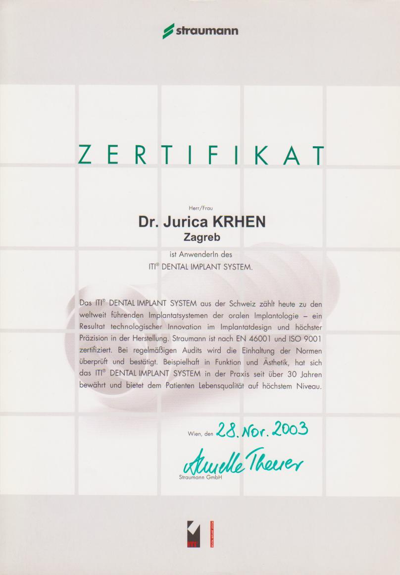 Straumann Zertifikat 2003