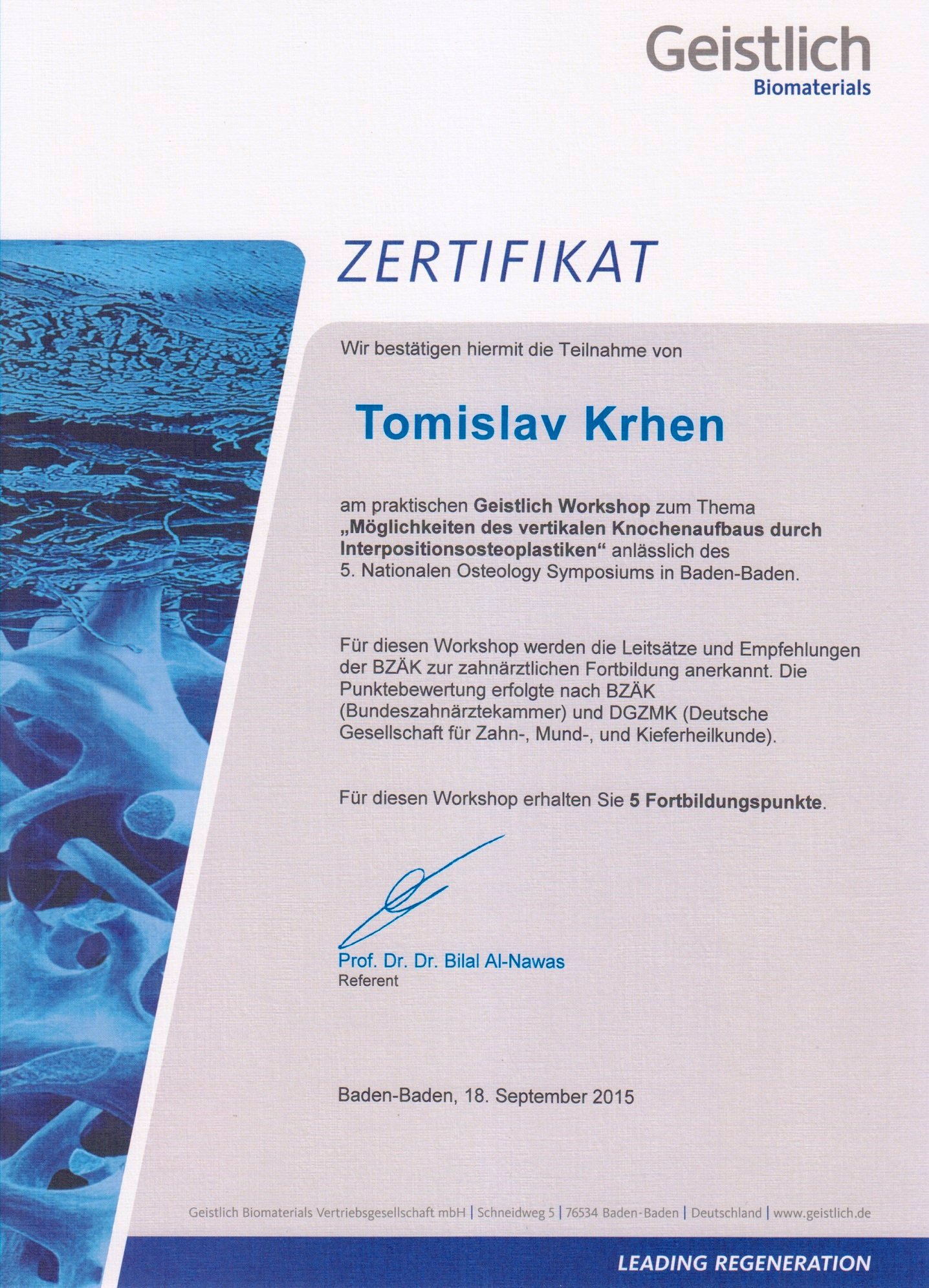 Geistlich Workshop - Napredne tehnike koštane augmentacije - Interpozicijski graft