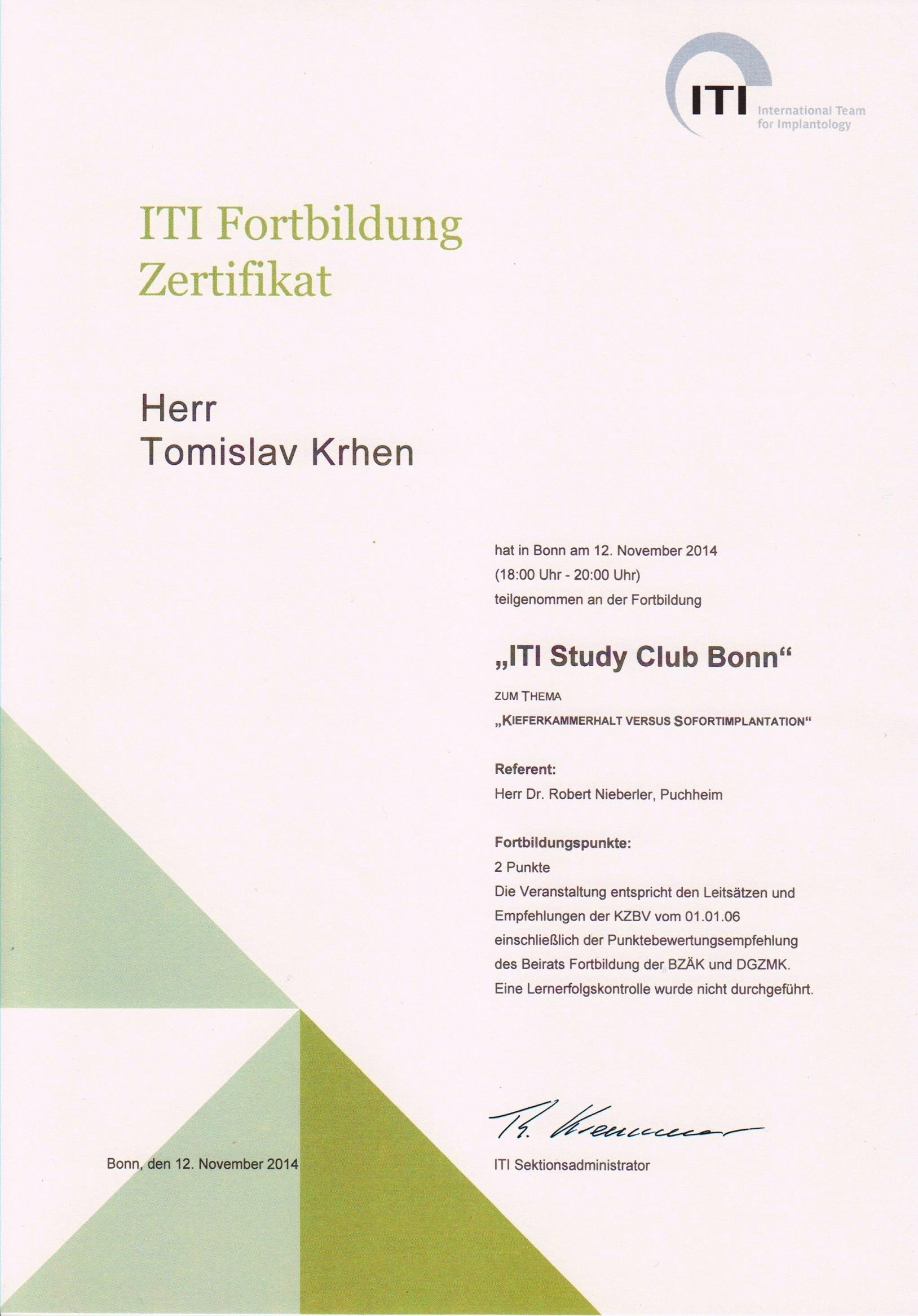 Imedijatna implantacija - ITI Study Club Bonn